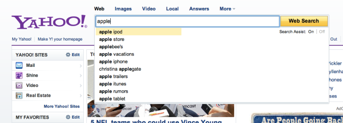 Screen shot of Yahoo! search suggest results