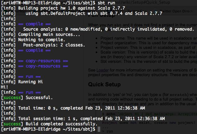 Screen shot of running a project