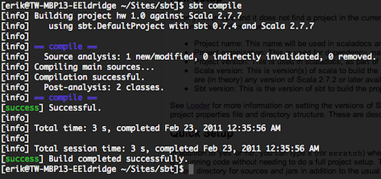 Screen shot of compiling a project